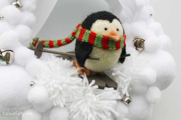 Deck the Door DIY snow ball christmas wreath-14