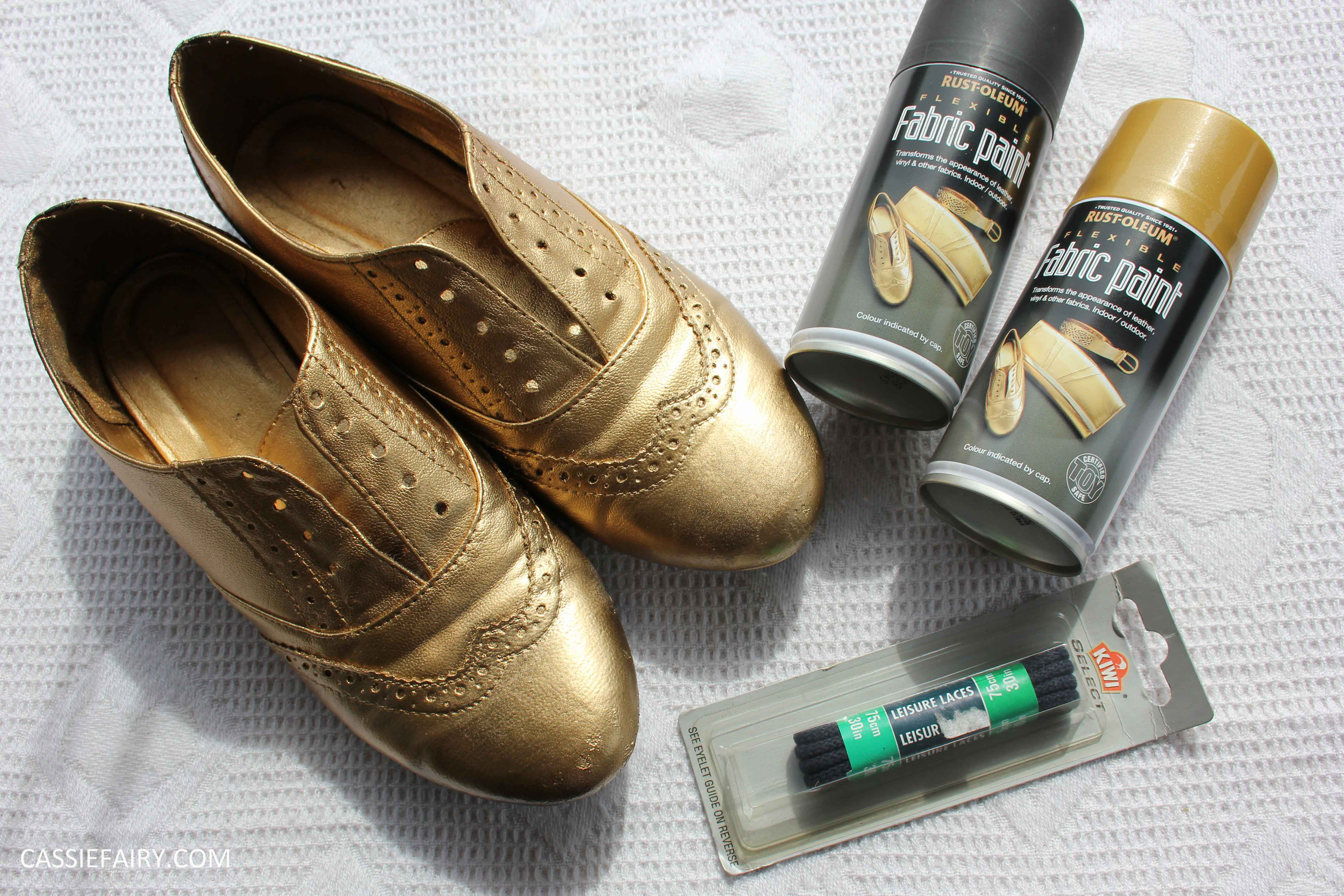 tuesday shoesday diy shoe makeover using spray paint cassiefairy. Black Bedroom Furniture Sets. Home Design Ideas