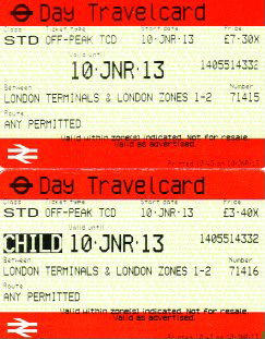 adult and child Travelcards for London Underground bought at the National Rail booth