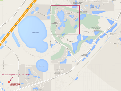 closest supermarket to Marriott's Cypress Harbour is the Publix at Regency Village