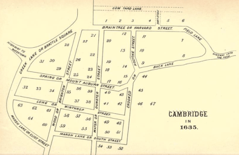 1635 map of Cambridge, Massachusetts, as published in Lucius R. Paige's History of Cambridge, Massachusetts. 1630-1877, downloaded from Wikimedia Commons