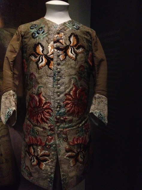 Elaborately embroidered coat for a man seen at the V&A. Unfortunately, I did not take a photo of the label with identifying information.