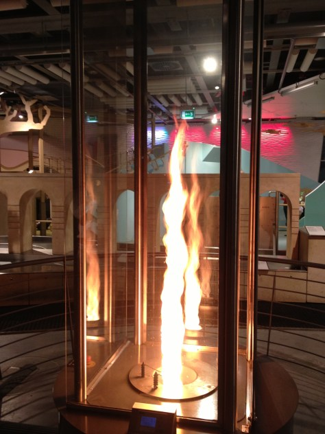 fire tornado at the Copernicus Science Centre in Warsaw, Poland