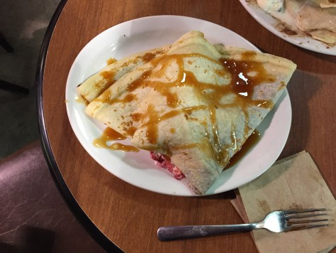 Crêpe with nutella, caramel and strawberry-vanilla ice cream at the Baguette & Chocolat at 36 Cote de la Fabrique