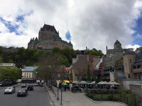 Fairmont Le Château Frontenac as seen from Rue du Marche-Champlain by the harbor side