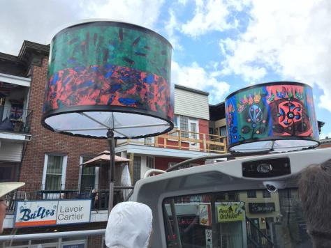giant lampshades on avenue Cartier