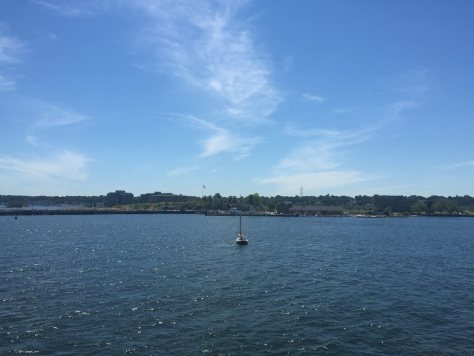 a sailboat close to the New London, CT harbor