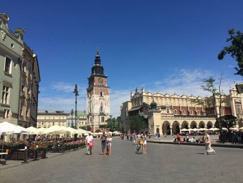 the central point of the Main Square are the Sukiennice (the Cloth Hall) and Wieza Ratuszowa (the Town Hall Tower)