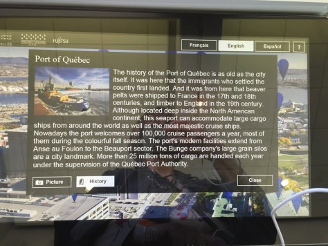 one of the display panels in front of the windows, with information about the Port of Quebec