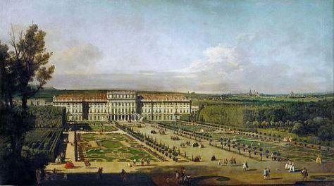 Kaiserliches Lustschloss Schönbrunn, Gartenfassade, Bernardo Bellotto [Public domain], via Wikimedia Commons