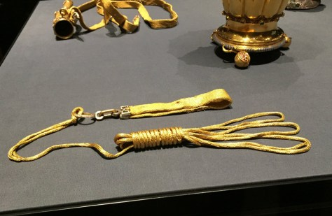 gold dog leash in the Kunstkammer section at the Kunsthistorisches Museum