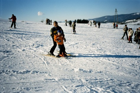 Learning how to ski on the slopes in Rabka, Poland in 2006