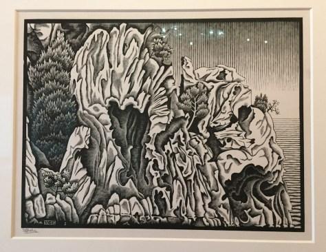 M.C. Escher's 1934 wood engraving, Calanche of Piana, Corsica