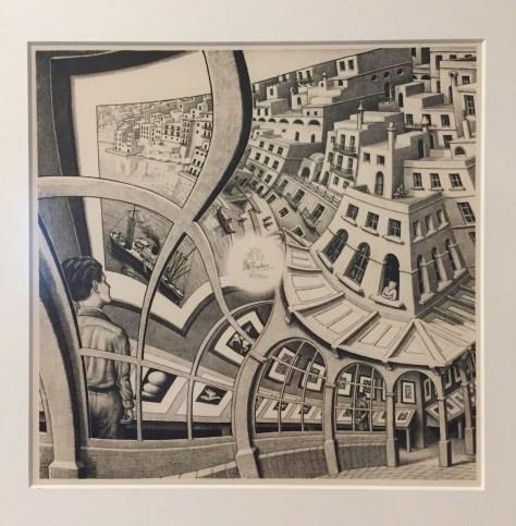 """M.C. Escher's 1936 lithograph, """"Print Gallery"""""""