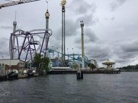 Gröna Lund amusement park on the island of Djurgården in Stockholm, close to the Allmänna Gränd Brygg stop (both 80 and 82 stop here)