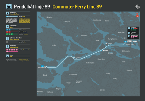 """route of Stockholm's """"shuttle"""" ferry 89"""