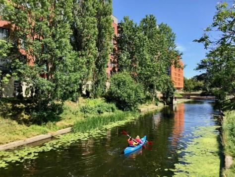 kayakers on a canal south of Granary Island, between Chmielna and Toruńska streets, Gdańsk, Poland