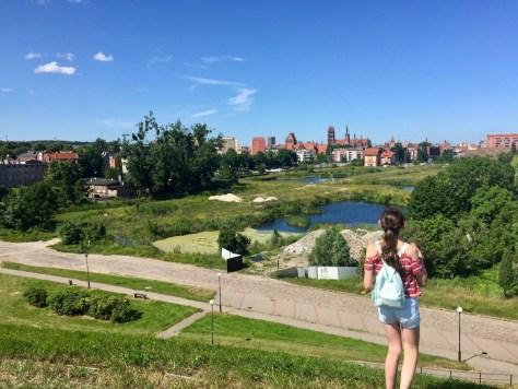 view of old town Gdańsk from Bastion Żubr (Bison Bastion)