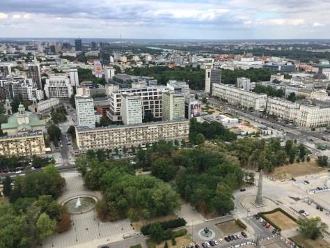 View north from the 30th floor of the Pałac Kultury i Nauki (Palace of Culture and Science) in Warsaw, Poland toward the corner of Swiętokrzyska and Marszałkowska Streets.