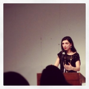Elif Batuman, dropping some knowledge bombs at the Creative Writing Lecture at Columbia on Wednesday, February 5, 2014.