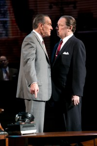 """Bryan Cranston's LBJ is a paradox of a man, intimidator, cajoler; he is charismatic and menacing.  That, maintains Schenkkan, is why the play has such appeal -- """"It's entertaining to watch a dangerous, driven, high-achieving character in action, whether he's selling meth of social change.""""   New York Production Photo by Evgenia Eliseeva."""