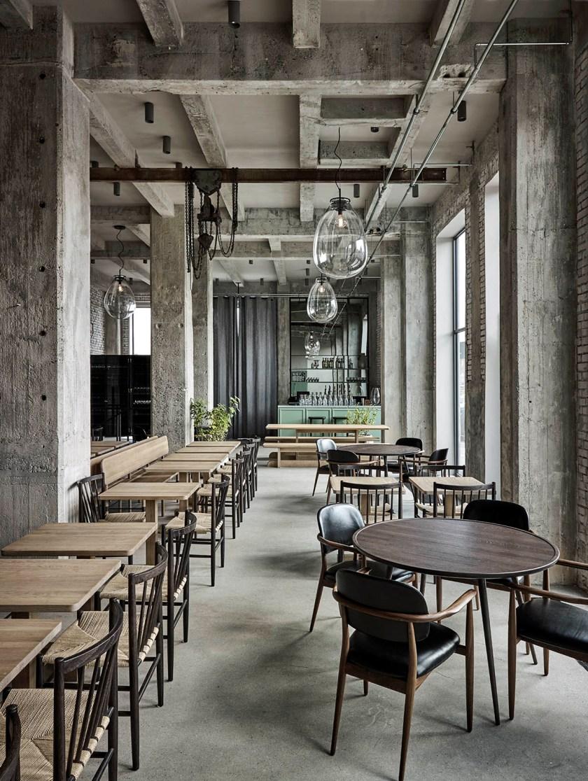 Raw concrete interior at Restaurant 108 by Space Copenhagen - Joachim Wichmann14