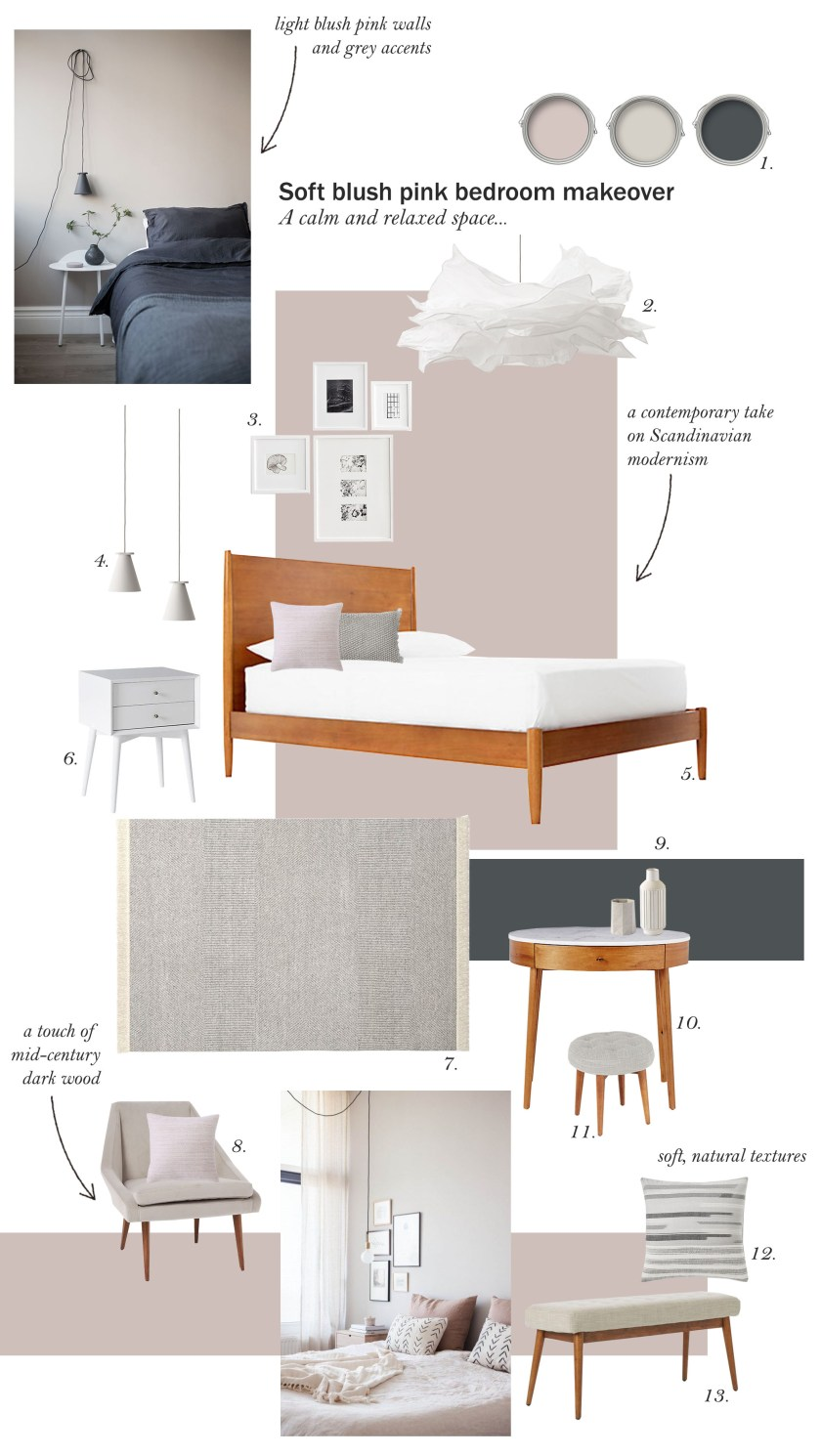 catesthill soft dusty pink bedroom makeover inspiration
