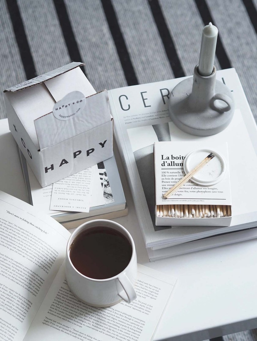 Sustainable cushions and home accessories from Happy + Co - coffee table style - monochrome