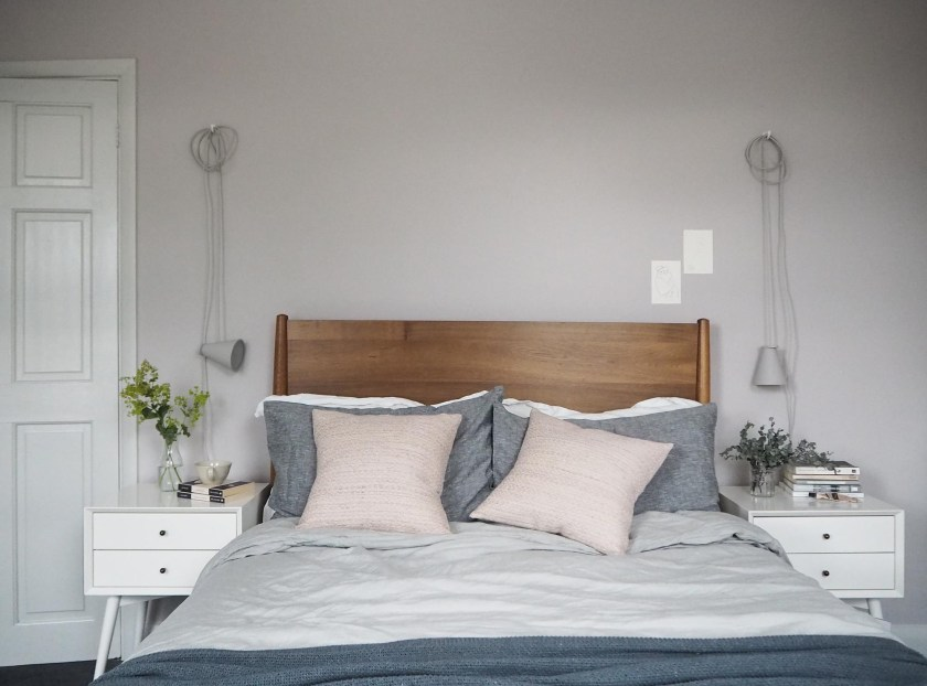 Soft blush pink bedroom reveal BEFORE + AFTER - Farrow & Ball Peignoir - West Elm mid-century furniture