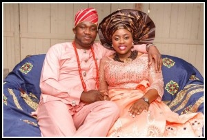 Igbo marriage. Chidi and his bride at traditional ceremony
