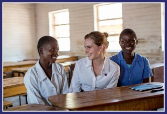 Emma Watson with two girl students in Malawi