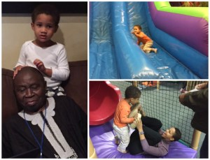 Ikem with Grandpa and at Jumpers