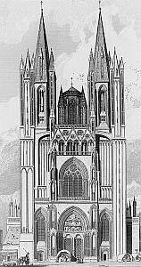1822 engraving of the facade of the Coutances Cathedral; swiped off fromn Wikipedia