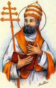 detail of an antique Italian holy card of Pope Saint Adrian III; swiped with permission from Santini Imagini
