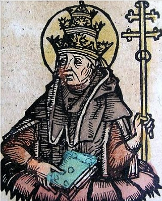 detail of a book illustration of Pope Saint Hilary, artist unknown