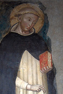 portrait of Saint Dominic de Guzman, artist unknown, 14th century; oldest known image of Dominic; Basilica of Saint Dominic, Bologna, Italy; swiped off the Wikipedia web site