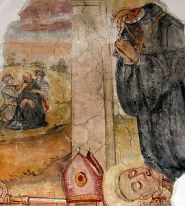 detail of a medieval fresco depicting the death of Saint Bruno, artist unknown; swiped from Wikimedia Commons
