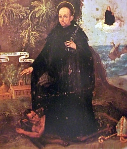 photograph of a painting by 'Roger S' showing Blessed Constabilis standing on a devil in the foreground, and of his miraculous intervention to save a ship; swiped off the Wikipedia web site