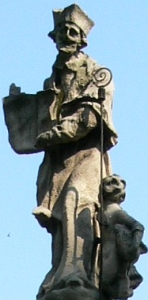 detail of a statue of Saint Lazarus of Milan; 1728, artist unknown; Piazza Vetra, Milan, Italy; photographed on 11 July 2007 by Lorenzo Fratti; swiped from Wikimedia Commons