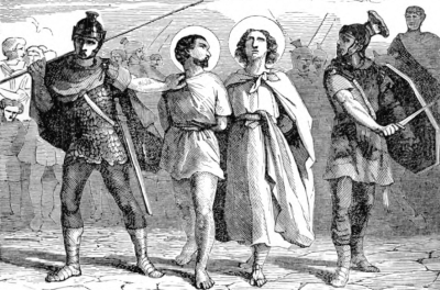 illustration of Saint Nazarius and Saint Celsus being led to their martyrdom; from Pictorial Lives of the Saints