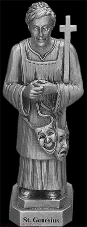 small pewter statue of Saint Genesius, artist unknown; click for source image