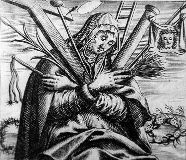 17th century print of Blessed Angela of Foligno; artist unknown; swiped from Wikimedia Commons; click for source image