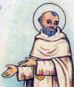 detail of an Italian holy card of Blessed Arnaldo of Liniberio by Bertoni, date unknown; swiped from Santi e Beati
