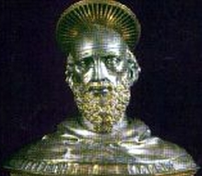 detail of a silver reliquary bust of Blessed Baudoin of Rieti containing his skull; date and aritst unknown; cathedral of Rieti, Italy; swiped from Santi e Beati