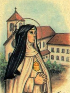 detail of an Italian holy card of Blessed Frances Martel by Bertoni, date unknown; swiped from Santi e Beati