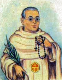 detail of an Italian holy card of Blessed Francesc Llagostera Bonet by Bertoni, date unknown; swiped from Santi e Beati