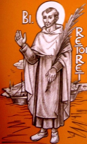 detail of a Blessed Jacques Retouret holy card, date and artist; swiped from Santi e Beati