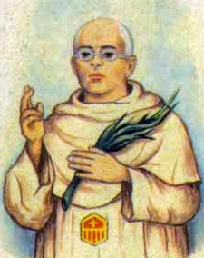 detail of an Italian holy card of Blessed Mariano Pina Turón by Bertoni, date unknown; swiped from Santi e Beati