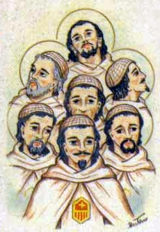 detail of an Italian holy card of the Blessed Mercedarian Knights; by Bertoni, date unknown; swiped from Santi e Beati; click for source image