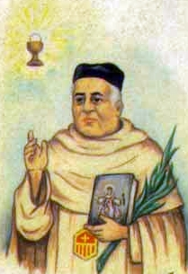 detail of an Italian holy card of Blessed Tomás Carbonell Miquel by Bertoni, date unknown; swiped from Santi e Beati